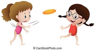 frisbee, filles, deux, jouer