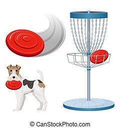 frisbee, golf, couleur, affiche, illustration, jeu, vecteur...