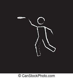 Frisbee icon drawn in chalk.