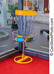 frisbee, intérieur, parc, activité, panier, enfants