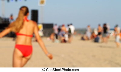 frisbee, mince, sexy, girl, plage, jouer