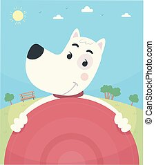 frisbee, parc, chien, illustration