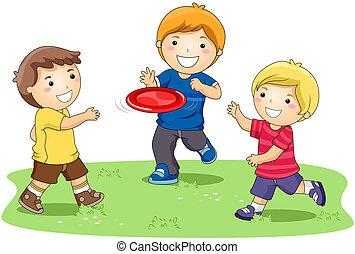 frisbee, spelend