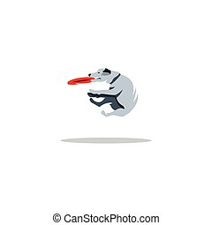 frisbee., vettore, cane, illustration.