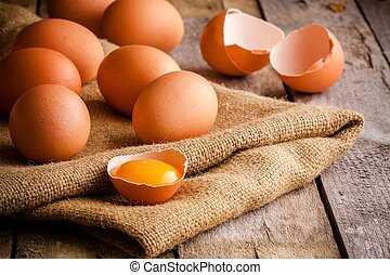 frisch, bauernhof, eier, auf, sackleinen