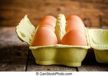 frisch, bauernhof, eier, in, der, paket