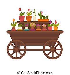 frisch, frühjahrsblumen, in, töpfe, auf, hölzern, straßenbahn, vektor, sammlung, freigestellt