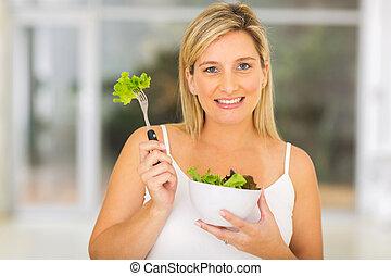 frisch, frau, grüner salat, schwanger