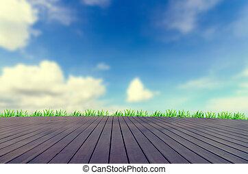 frisch, fruehjahr, grünes gras, mit, blauer himmel, und, hölzerner fußboden, hintergrund