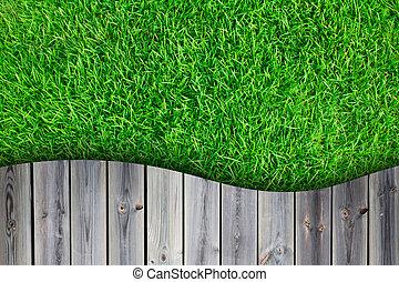 frisch, fruehjahr, grünes gras, mit, hölzerner fußboden