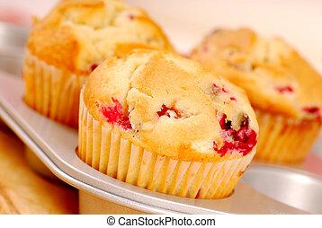 frisch, gebacken, preiselbeere, muffins