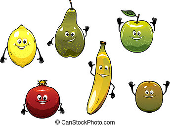 frisch, glücklich, satz, karikatur, früchte
