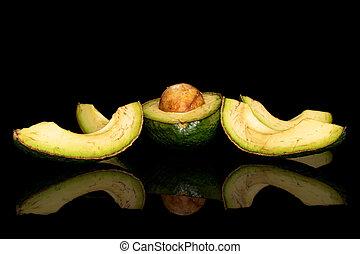 frisch, grün, schwarz, freigestellt, glas, avocado