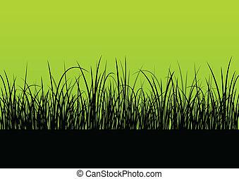 frisch, gras, landschaftsbild, ausführlich, silhouette,...