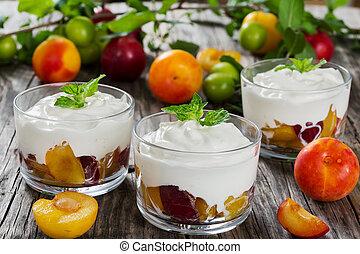 frisch, griechischer , joghurt, mit, kirschen, pflaumen, in,...