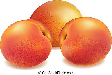 frisch, pfirsich, früchte