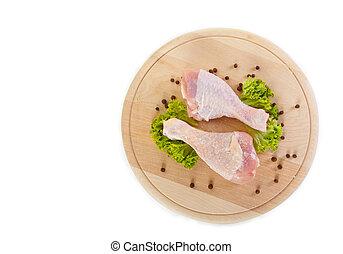 frisch, roh, huhn, beine, mit, grüner salat