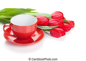 frisch, rotes , tulpen, mit, kaffeetasse