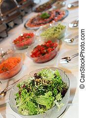 frisch, salat, büffet