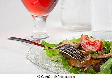 frisch, salat, mit, gebraten, auster pilze