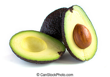 frisch, schnitt, avocado, hälfte