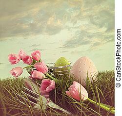 frisch, schnitt, tulpen, mit, eier, in, der, großes gras