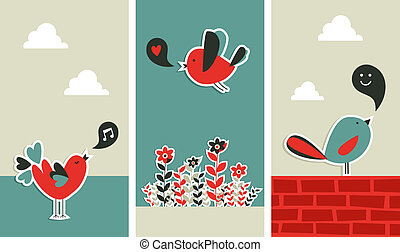 frisch, sozial, medien, vögel, kommunikation