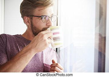 frisch, trinken, träumende, bohnenkaffee, mann