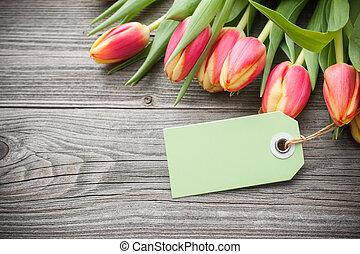frisch, tulpen, und, etikett