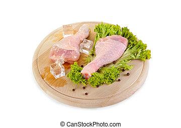 frisch, und, gefrorenes, huhn, beine, mit, grüner salat