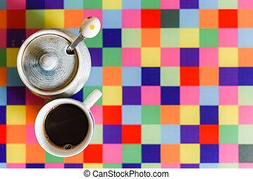 frisch, zucker, kaffee getränk, kueche , klein, bankschalter, expresso, becher, hell, schwarz