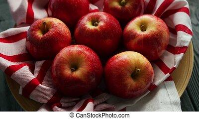 frische äpfel, auf, serviette