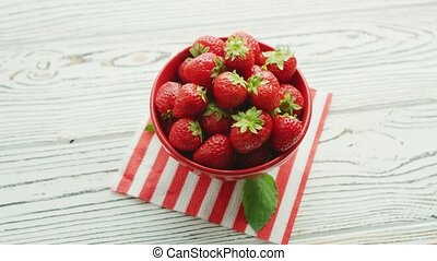 frische erdbeere, in, schüssel