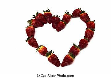 frische erdbeeren, in, herz- form