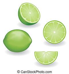 frische frucht, ansichten, vier, limonen