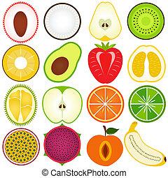 frische frucht, schnitt, hälfte