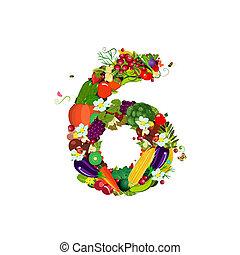 frische gemüse, 6, zahl, früchte
