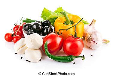 frische gemüse, mit, italienesche, kã¤se, mozzarella