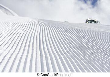 frischer schnee, groomer, verbleibende wiedergabedauer -...