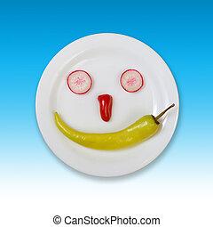 frisches essen, smiley