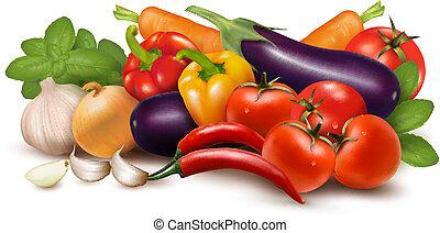 frisches gemüse, mit, leaves., gesunde, eating., vektor,...