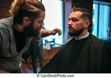 frisersalong, barberare, formgivning, mustasch, skägg