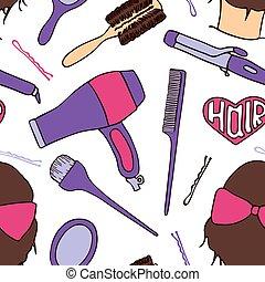 friseur, tools., seamless, muster, mit, visagistin, vorräte, -, blowdryer, lockenwickler, bürste, spiegel, hairpin., vektor, abbildung, -, swatch, innenseite