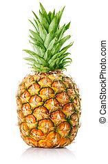 frisk, ananas, frukt, med, grönt lämnar