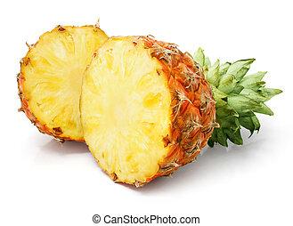 frisk, ananas, frukt, med, snitt, och, grönt lämnar