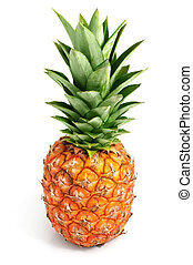frisk, ananas, frukter, med, grönt lämnar