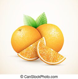 frisk, apelsiner, frukter, med, grönt lämnar, och, andelar