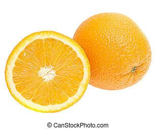 frisk, apelsiner, isolerat, vita, bakgrund