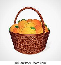 frisk, apelsiner, med, bladen, in, flätverk korg