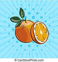 frisk, apelsiner, med, grönt lämnar, på, blåttbakgrund, hand, oavgjord, mat, frukter, eco, vektor